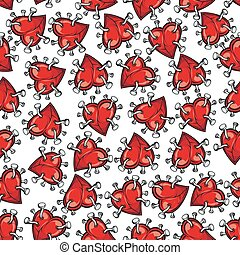 Pinned or nailed cartoon heart seamless pattern - Pinned or...