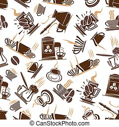 Coffee cups and espresso machine seamless pattern - Steaming...