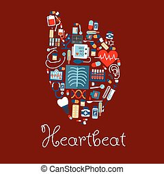 Human heart made of medical equipments icons