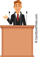 Cartoon businessman at tribune with microphones - Cartoon...