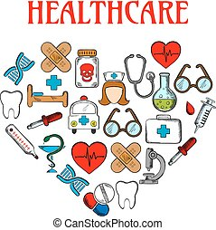 Medical equipment icons in form of heart