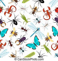 Colorful insect animals seamless pattern. Coccinellidae or...