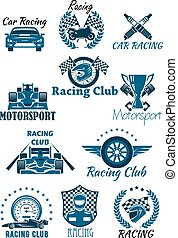 Isolated icons for racing and motorsports - Isolated icons...