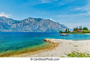Summer beach of garda lake - Summer embankment and beach...