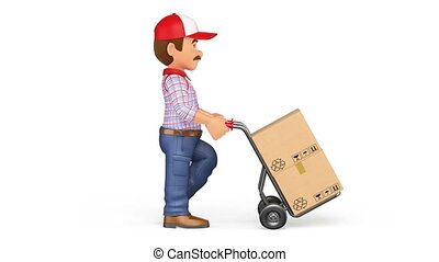 3D Animation footage delivery man pushing a hand truck with...