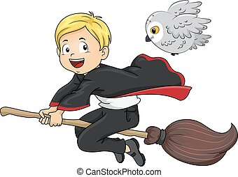 Kid Boy Wizard Familiar Owl - Illustration of a Young Wizard...