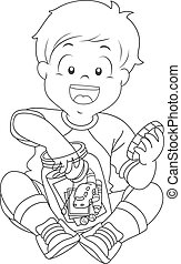 Kid Boy Jar Trinkets Coloring Page - Black and White...