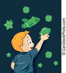 Kid Boy Glow In The Dark Outer Space