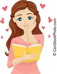 Teen Girl Book Romance - Illustration of a Teenage Girl...