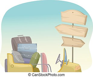 Travel Road Signboard - Illustration of a Pile of Suitcases...