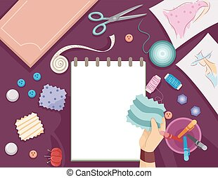 Sewing Sketch Pad Fabric - Illustration Featuring a Sketch...