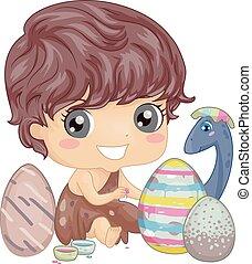 Kid Paint Dinosaur Easter Egg - Illustration of a Little...