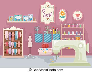 Sewing Room - Illustration Featuring a Room Full of Sewing...