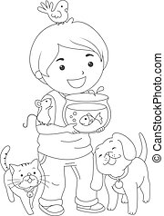 Kid Boy Pets Coloring Page