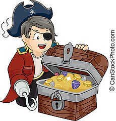 Kid Boy Treasure Pirate - Illustration of a Boy Dressed as a...