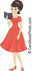 Teen Girls Dress Book Retro