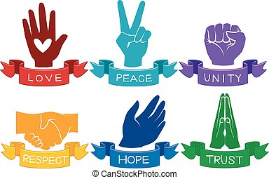 Ribbons Values Hands - Illustration of Colorful Hands...