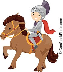 Kid Boy Knight Horse - Illustration of a Boy Dressed as a...