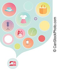 Sewing Design Elements - Illustration Featuring Different...