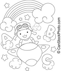 Kid Boy Plane Rainbow Color Page - Black and White Coloring...