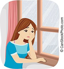 Teen Girl Seasonal Affective Disorder - Illustration of a...