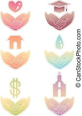 Hands Basic Needs Help Icons