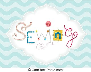 Sewing Lettering - Typography Illustration Featuring the...