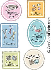 Sewing Labels - Group Illustration of Labels Featuring...