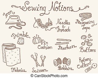 Sewing Notions - Typography Illustration Featuring Different...