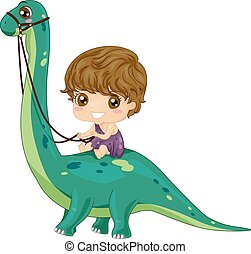 Kid Boy Dinosaur Ride Brontosaurus