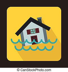 House sinking in a water icon, flat style