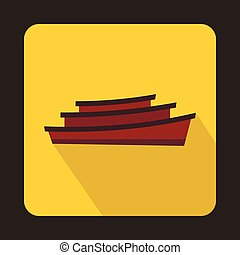 Wooden boat icon in flat style - icon in flat style on a...
