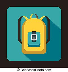Yellow backpack icon in flat style - icon in flat style on a...
