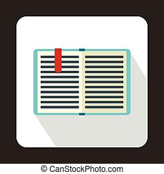 Open book with a bookmark icon, flat style