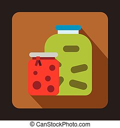 Jars with pickled vegetables and jam icon - icon in flat...