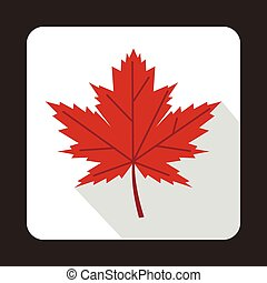 Red maple leaf icon in flat style on a white background