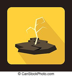 Drought icon in flat style - icon in flat style on a yellow...