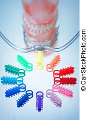 multicolor, ligadura, corbatas, facebow, dentaduras