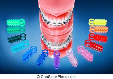 dentaduras, Fierros, rodeado, multicolor, ligadura, corbatas