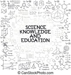 Hand drawn doodle formulas Science knowledge education
