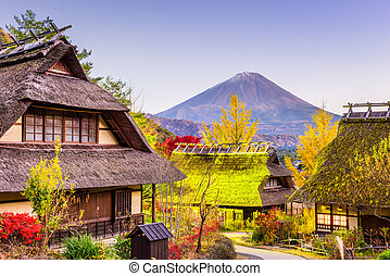 Mt. Fuji and Village - Mt. Fuji, Japan with historic village...