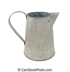Empty metal jug - Empty metal pitcher, isolated on a white...
