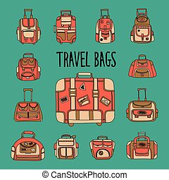 Doodle set with travel bag icons Hand drawn images