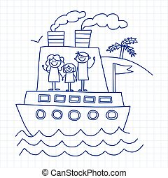 Happy family vacation Kids drawing - Happy family vacation...
