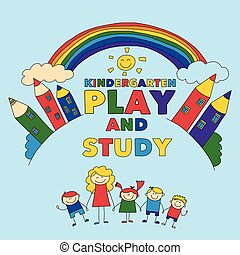 Kindergarten Children with teacher