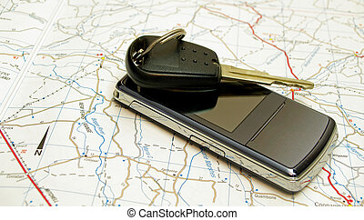 Car key with phone and map - car key with a mobile phone on...