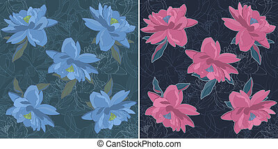 Bouquet, modèle, croquis, fleur,  seamless