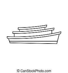 Wooden boat icon, outline style - Wooden boat icon in...