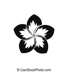 Frangipani flower icon, simple style - Frangipani flower...