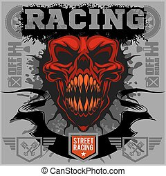 Motor racing demon - emblem for t-shirt